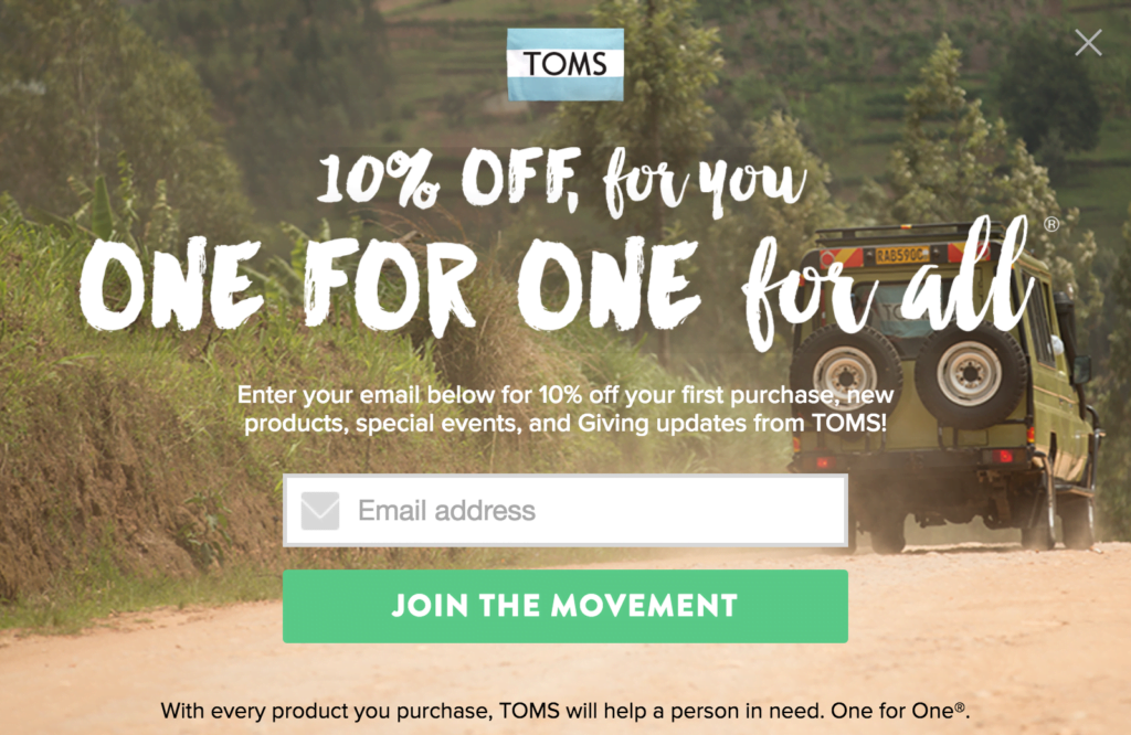 TOMS Sign Up Form Call to Action