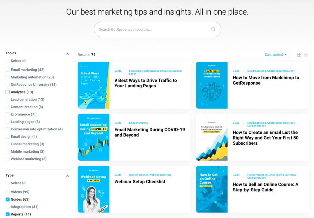 GetResponse Resources - marketing ebooks library.