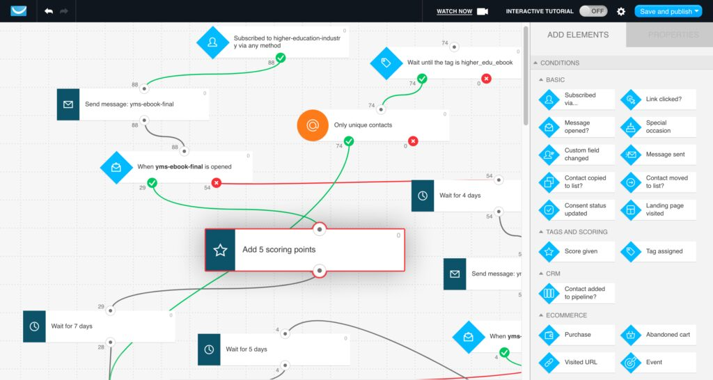 Adding scoring points in GetResponse MAX marketing automation workflow.