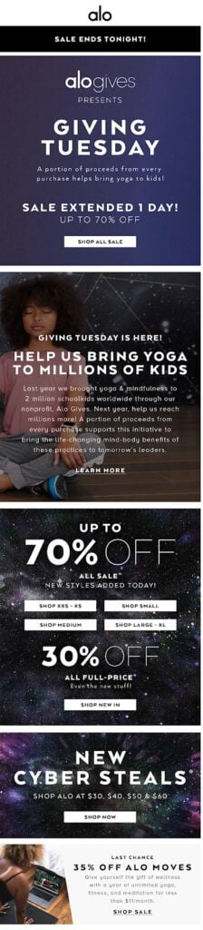 Alo Yoga sends a beautifully branded Giving Tuesday email
