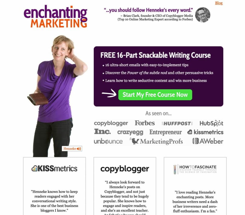 Personal website example featuring a lead magnet from Enchanting Marketing.